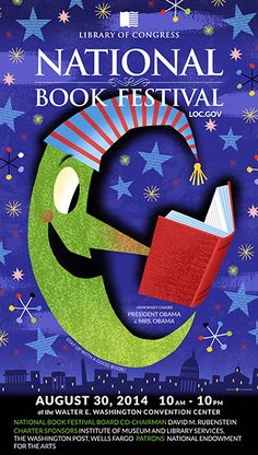 2014 Library of Congress National Book Festival Poster. Poster Artist: Bob Staake.