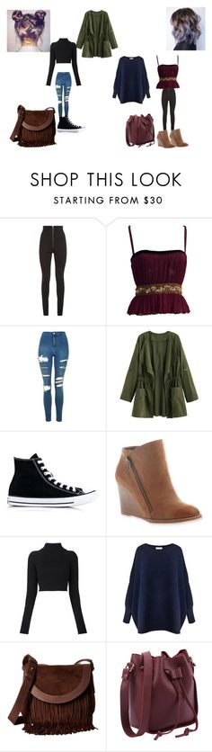 """""""2"""" by geor6900 on Polyvore featuring Balmain, Topshop, Converse, Hokus Pokus, Paisie and Frye"""