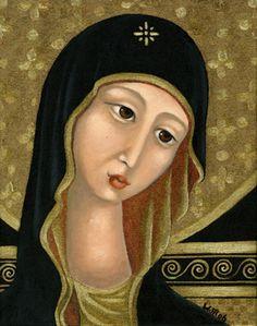 Wendy Ryan Folk Art Blog: Virgin Mary Icon - Painting A Day