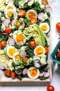 Kale Cobb with Cashew-Poblano Dressing is a hearty, vegetarian version of the classic with a creamy, dairy-free dressing. Vegetarian Paella, Vegetarian Recipes, Healthy Recipes, Dressings, Summer Salad Recipes, Summer Salads, Make Ahead Lunches, Healthy Salads, Gourmet Recipes