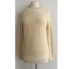 "Vince chunky knit sweater Vince chunky knit sweater. Size XS. Measures 27"" long with a 38"" bust. 60% cotton/ 38% polyamide/ 2% viscose. This is an open knit sweater so it is see through. Semi oversized and extremely comfy! Color is a soft yellow Vince Sweaters Crew & Scoop Necks"