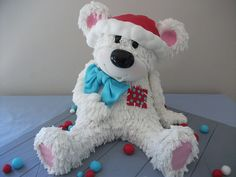 Ragitty Teddy Christmas Cake - carved from and devil food cakes with RCT head and cake truffle legs. Made for my littlest guys end of year class party. 3d Christmas, Christmas Sweets, Christmas Baking, Christmas Ideas, Family Christmas, White Christmas, Holiday Ideas, Teddy Bear Party, Teddy Bear Cakes