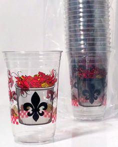 cups with crawfish boil wrap design and fleur de lis crawfish pot ...