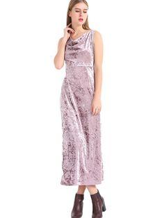 Velvet Slit Hem Sleeveless Pile Collar Women Maxi Dress