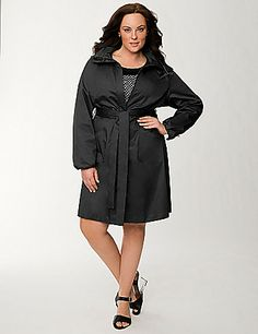 Infused with subtle sparkle for that coveted Lane Collection attitude, this hooded anorak jacket is a fabulous way to keep out the elements.  The timeless cut offers a flattering fit, with a two-way zipper and snapping cuffs to customize it for your comfort. Slash pockets.  lanebryant.com