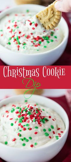 This white and Fluffy Christmas Cookie Dip is topped with sprinkles and served with your favorite cookies, fruit, or pretzels. A sweet and simple snack that's perfect for the holidays!