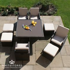 Outdoor Restaurant 4 Seat Cube Dining Set - Hardwearing PU rattan containing UV protection so that products remain suitable for all weathers and are maintenance free. Luxury Garden Furniture, Outdoor Furniture Sets, Outdoor Decor, Garden Dining Set, Dining Sets, Ottoman, Outdoor Restaurant, Dining Table Chairs, Patio Dining