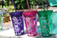 Cheerleader personalized tumblers. We have them in all colors and can add your cheer girls name to the back!