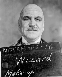 Medium shot of Frank Morgan as The Wizard, in rejected make-up and costume test.