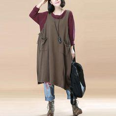 Women Dark Coffee Pockets Pleated Lacing Vest Dress