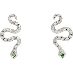 Ileana Makri Little Snake Studs ($1,460) ❤ liked on Polyvore featuring jewelry, earrings, colorless, 18k earrings, 18k white gold earrings, white gold jewelry, clear crystal earrings and stud earrings