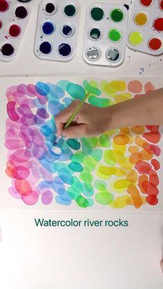 Watercolor river rocks
