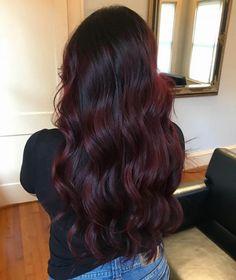 Hair Color For Black Hair, Brown Hair Colors, Dark Burgundy Hair Color, Burgundy Balayage, Burgendy Hair Color, Plum Black Hair, Dark Maroon Hair, Short Burgundy Hair, Cherry Brown Hair