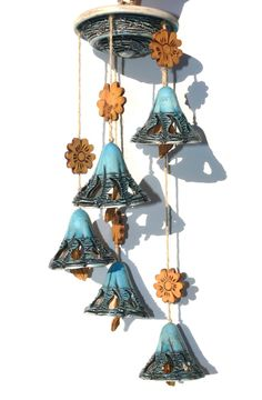 Pottery  Mobile Wind Chimes Bells Ready to hang by ArtVISIONua on Etsy https://www.etsy.com/listing/243231586/pottery-mobile-wind-chimes-bells-ready