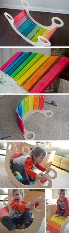 DIY Rainbow Rocker | Click Pic for 22 DIY Christmas Gifts for Kids to Make | Handmade Christmas Gifts for Boys