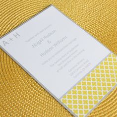 Modern yellow wedding invitation