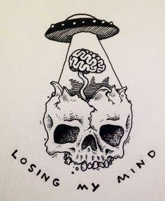 Tatto Ideas & Trends 2017 - DISCOVER skull alien tattoo Discovred by : lydie vanackere Alien Drawings, Tumblr Drawings, Tattoo Drawings, Cool Drawings, Trippy Drawings, Small Drawings, Alien Tattoo, Totenkopf Tattoos, Art Inspo