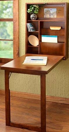 Fold down desk included in a multi-functional furniture that is practical enough to support your works in the house or office as well. fold down desk plans. fold down desk top. Space Furniture, Furniture For Small Spaces, Home Office Furniture, Small Rooms, Furniture Ideas, Fold Out Desk, Fold Out Table, Wall Mounted Table, Wall Mounted Shelves