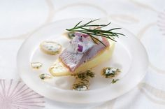 Almond potatoe matjes herring and browned butter