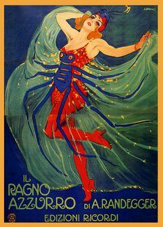 Il Ragno Azzurro (The Blue Spider). Italian theater poster by Leopoldo Metlicovite, 1910