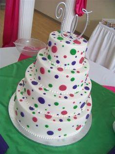 @Clarissa Kramer Holliday Multi-color polka dot wedding cake...lol cute :) perfect for birthday confetti cake
