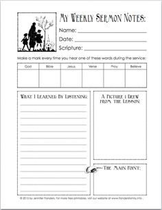 Printables Sermon Preparation Worksheet church note and wells on pinterest free printable for encouraging kids to listen in church