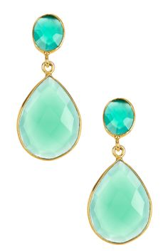 Gold plated sterling silver, green onyx 20.00 ctw