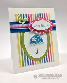 Rain or Shine stamp set is sure to brighten your day with umbrella and sentiment images - designed by Mary Fish, Independent Stampin' Up! Demonstrator.  Details, supply list and more card ideas on http://stampinpretty.com/2012/12/mojo-monday-sketch-for-a-stampin-up-baby-shower-card.html