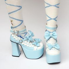 Sweet High Platform Sky Blue with White Lolita Shoes Sweet High Platform Sky Blue with White Lolita Shoes Harajuku Fashion, Kawaii Fashion, Lolita Fashion, Cute Fashion, Fashion Shoes, Fashion Outfits, Rock Fashion, Fashion Accessories, Pretty Shoes