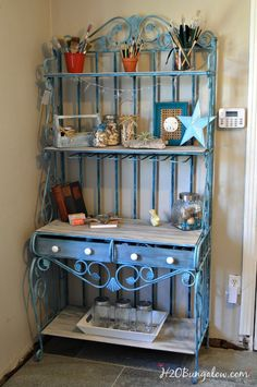 My turquoise metal bakers rack makeover took drab to fab! I've included my tutorial to paint the rich, aged patina that gives this piece it's character.