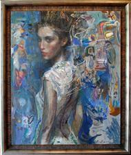 """Charles Dwyer """"Eurydice"""" Original oil on canvas, 52 x 42 in. Framed"""