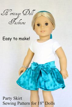 Heritage Party Skirt Doll Clothes Pattern by PixieFairePatterns, $3.99