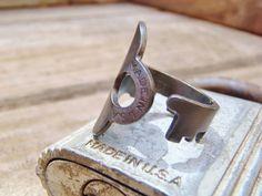 Antique Key Ring - Yale USA - Size 6.5 - Jewelry - Steampunk -  Handmade - Repurposed - Jewelry - 0547
