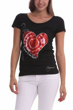 Desigual women's Priscilla T-shirt. It features an embroidered satin heart with silver mini-sequins surrounded by printed hearts. Bow fastening at the back.