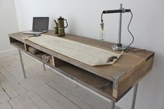 Reclaimed Scaffolding Board Industrial Chic Extra Long Desk with Built In Storage and Galvanised Steel Legs - works perfectly in a sophisticated urban casual living space. This double desk can be made to measure to. Industrial Chic, Industrial Furniture, Wood Furniture, Furniture Design, Furniture Ideas, Design Industrial, Urban Furniture, Industrial Office, Furniture Companies