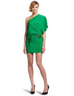 Wrapper Juniors One Shoulder Dress With Gold Metal Rings Belt