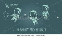 three cute hand drawn astronauts with stars floating in space, cosmic vector illustration