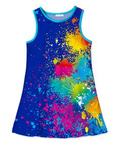 Navy & Blue Splatter Tank Dress - Toddler & Girls
