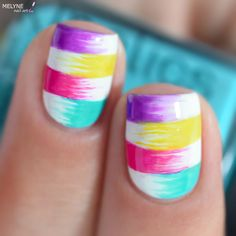 Rainbow Summer nail art design - Tutorial Ongles Colorés et Fun Pour l'été