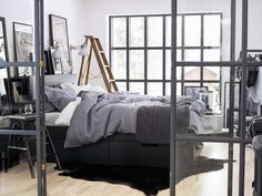 NY cosy bedroom style by Ikea Cosy Bedroom, Ikea Bedroom, Bedroom Inspo, Bedroom Decor, Bedroom Storage, Ikea Stool, Masculine Interior, Gravity Home, Loft House