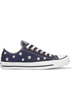 Converse - Chuck Taylor All Star Embroidered Denim Sneakers - Dark denim
