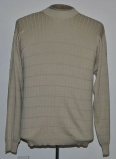 Pronto Uomo Sweater Mens Large Crew Neck Solid Beige Silk Blend Long Sleeve #ProntoUomo #Crewneck free shipping auction starting at$10.99