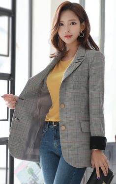 StyleOnme_Glen Check Fold-Up Sleeve Tailored Jacket Classy Outfits, Stylish Outfits, Tailored Jacket, Line Jackets, Casual Elegance, Korean Model, Dress To Impress, Korean Fashion, Fashion Brands