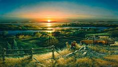 One of Redlin's most beloved images--a hunter and his golden retriever surveying the countryside at sunrise. Artist: Terry Redlin: 700 piece Panoramic jigsaw puzzle: Item size x Avon, Wall Art Prints, Fine Art Prints, Terry Redlin, Man And Dog, Country Art, Fauna, Wildlife Art, American Artists