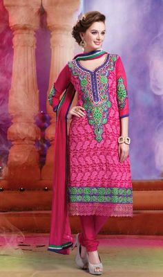 Evelyn Sharma Pink Embroidered Georgette Churidar Suit Price: Usa Dollar $108, British UK Pound £64, Euro80, Canada CA$117 , Indian Rs5832.