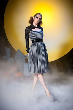 91ac79d6a65 Pinup Couture Jenny Dress in Victorian Black   White Stripes