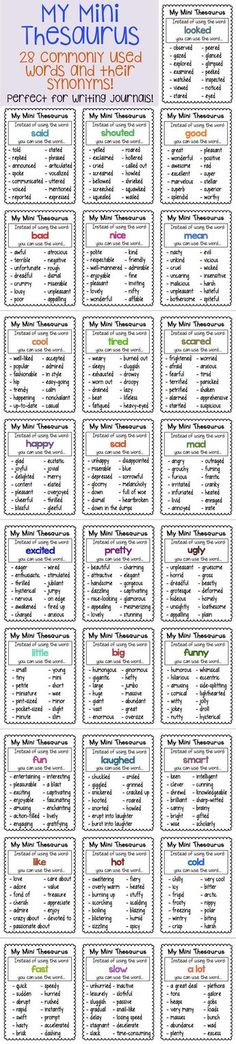 28 Mini Thesaurus Charts perfect for writing journals! Comes mini and standard size!