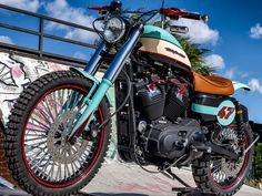 This Harley Scrambler was made by Lord Drake Kustoms from a Harley Davidson Softail base in their Cafe Racer workshop in Málaga (Spain) Sportster Scrambler, Harley Scrambler, Harley Davidson Sportster 883, Scrambler Custom, New Harley Davidson, Harley Davidson Motorcycles, Custom Baggers, Street Scrambler, Motorcycle Workshop