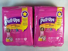 """#Huggies Pull-Ups """"Learning Designs"""" training pants #diapers in #girls size 4T-5T, brand new in original manufacturer's factory sealed pink plastic protective retail package two (2) packs of 38 count ct. piece pc. each http://www.ebay.com/itm/HUGGIES-PULL-UPS-LEARNING-DESIGNS-TRAINING-PANT-GIRLS-SIZE-4T-5T-2x38-JUMBO-PACK-/111167867824?pt=LH_DefaultDomain_0&hash=item19e21f0bb0"""