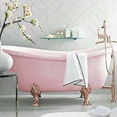 light pink bathroom - for adult girls pink room idea Bad Inspiration, Bathroom Inspiration, Home Decor Inspiration, Bathroom Ideas, Bathroom Tubs, Bathroom Pink, Remodel Bathroom, Pink Bathtub, Pink Tub